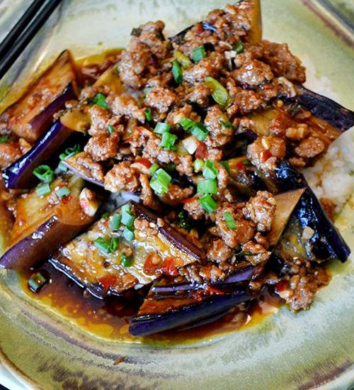 Chinese eggplant minced beef recipe