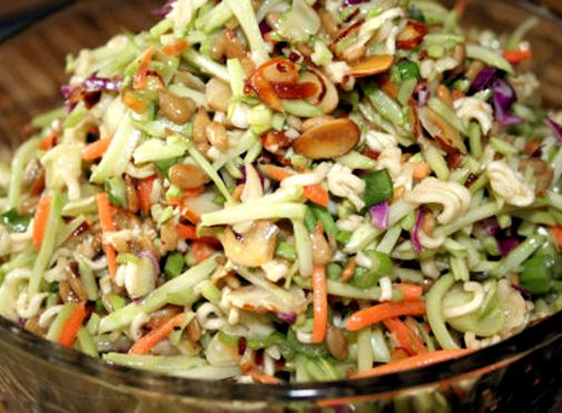 Cole slaw salad with ramen noodles recipe