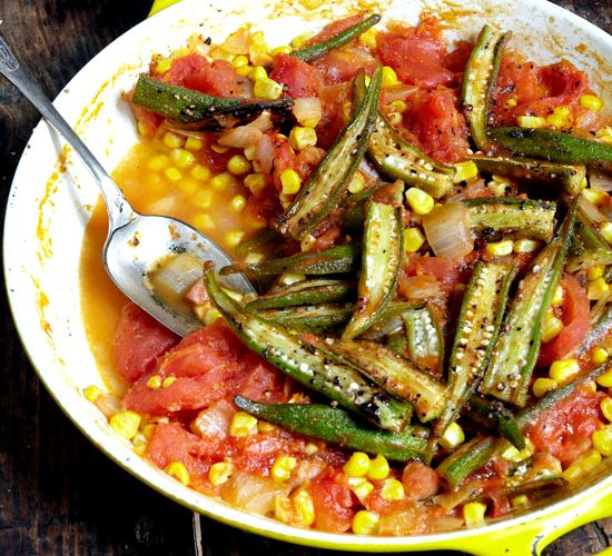 Fried tomatoes and okra recipe