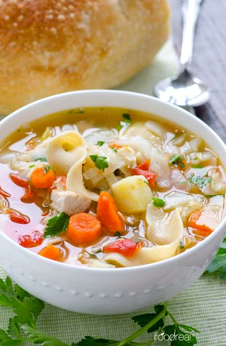Healthy chicken soup recipe with vegetables