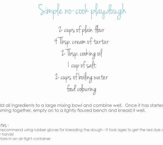 Homemade Playdough Recipe No Cooking