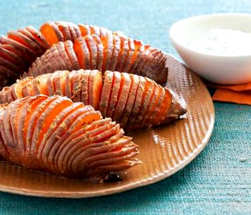 Oven roasted sliced sweet potatoes recipe