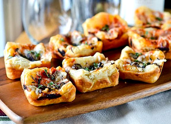 Puff pastry pizza cups recipe
