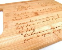 Bamboo cutting board with laser engraved recipe