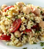 Brown rice garbanzo beans recipe