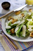 Caesar salad soup with bacon foam recipe