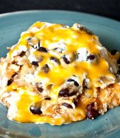 Chicken enchilada lasagna recipe with black beans and corn