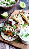 Fish tacos with cilantro cream sauce recipe