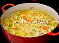 Homemade chicken noodle soup recipe with stock