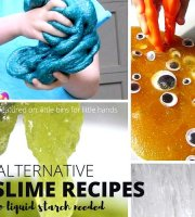 Homemade glitter slime recipe with liquid starch