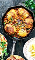 Pan-roasted chicken with harissa chickpeas recipe