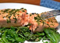 Salmon with wilted greens recipe