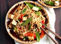 Vegetable lo mein recipe with tofu noodles
