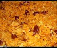 Yellow rice with red kidney beans recipe