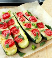 Zucchini boats recipe with tomato and basil