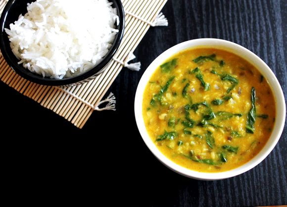 Yellow moong dal spinach recipe